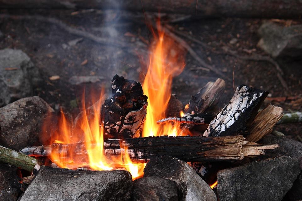 スウェーデン, キャンプ, たき火, 自然