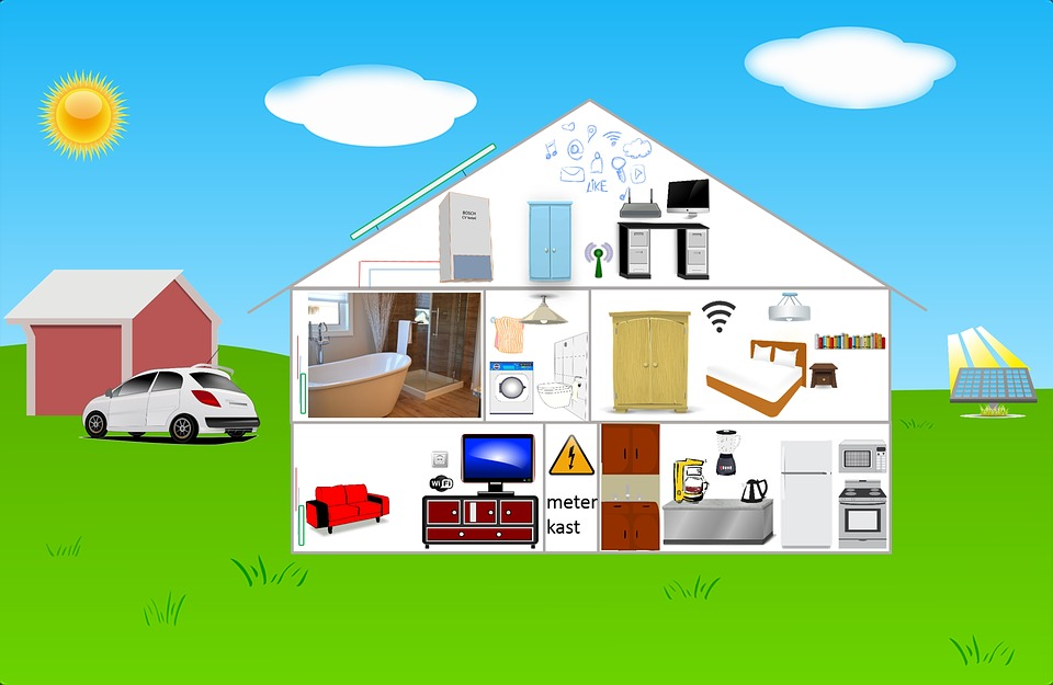 Infographic House Electricity Internet Wifi