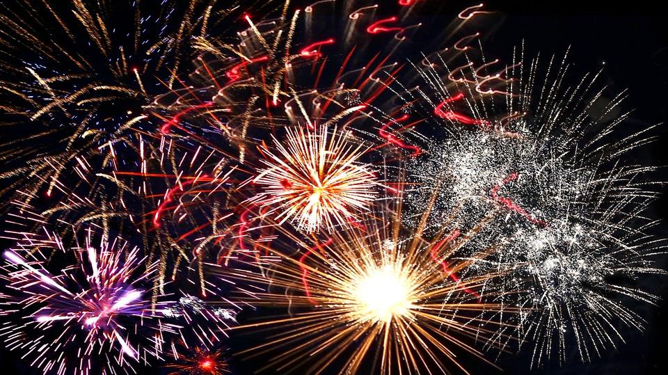 Kostenlose Illustration: Feuerwerk, Jahreswechsel ...