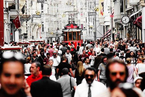 Turkey, Istanbul, Crowd, Tram, Istiklal
