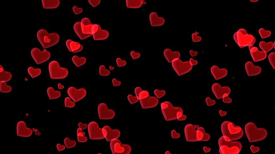 中心部, ピンク, 赤, 心, バレンタインデー, グリーティング カード, ロマンチックな, 飛行, 愛する
