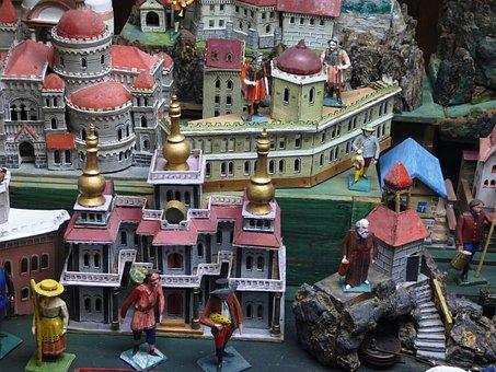 Maquete, personagens, cidade, edifícios, diversão