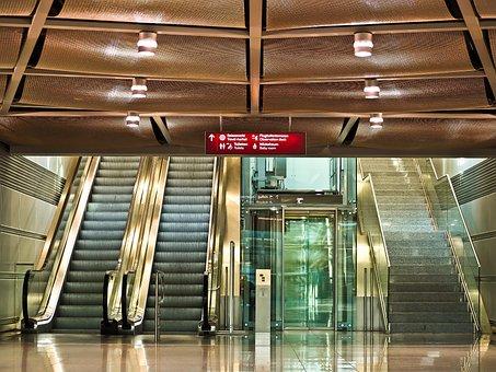 Treppe, Rolltreppe, Aufzug, Glas