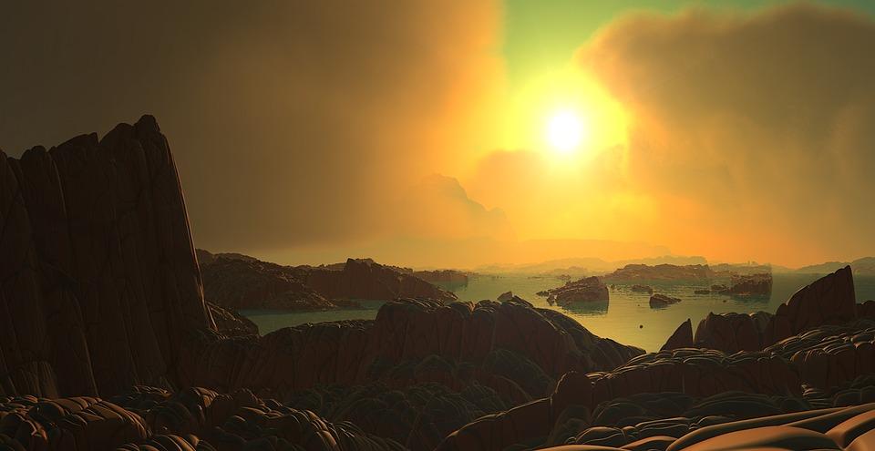 free illustration  landscape  sun  clouds  water
