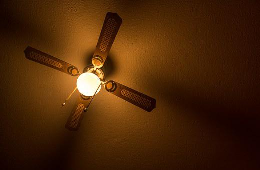 Ceiling, Lamp, Fan, Light, Darkness
