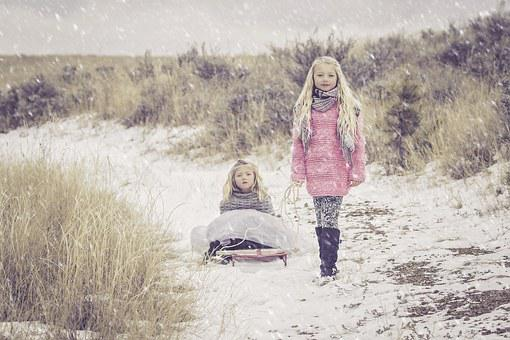 Sisters, Snow, Girl, Child, Cold