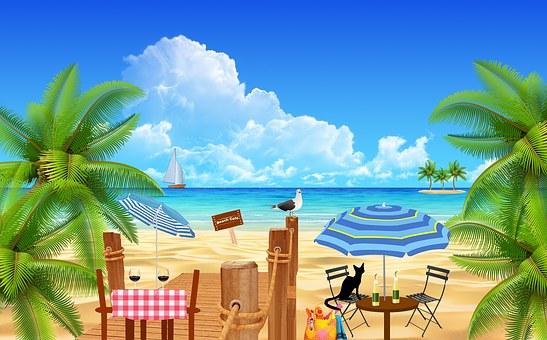 Beach, Coffee, Tables, Restaurant