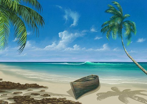 Paradise, Painting, Beach, Vacation, Sea