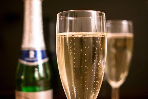 シャンパン, ピッコロ, シャンパン グラス, ガラス, 大晦日, 誕生日