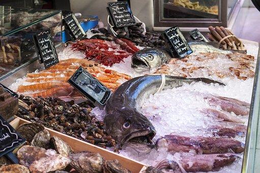 魚屋, 魚, シーフード, 氷, 市場, サンミゲル市場, マドリード