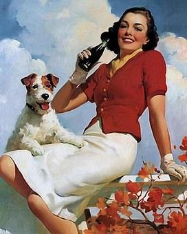 Cartel Vintage, Sosa, Mujer Y Perro