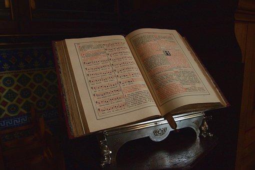 聖書, 本, グレゴリオ暦の, キリスト教, 信仰, 照明, 教会, 読み取り