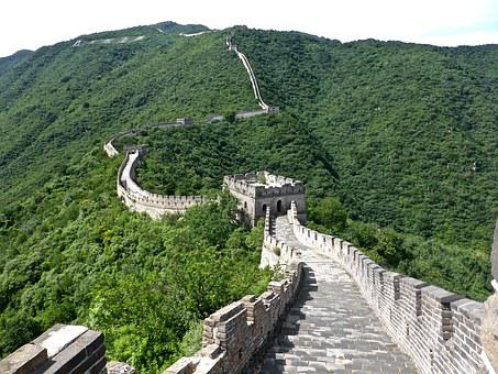 Part of the Great Wall of China in greenery