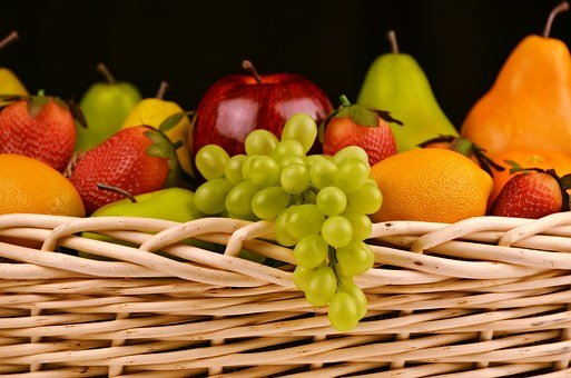 Fruit Basket, Grapes, Apples, Pears