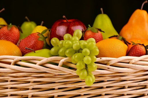 果物, 新鮮な, バスケット, 新鮮な果物, 各種, フルーツ盛り合わせ
