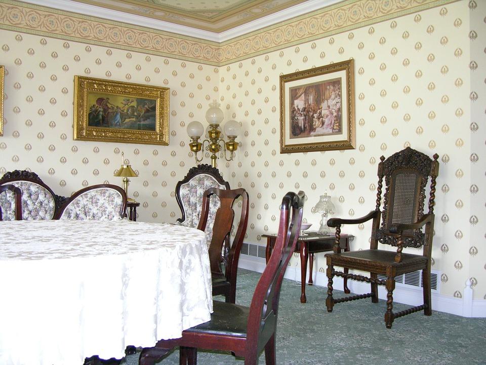 salle manger victorienne salon formel papier peint