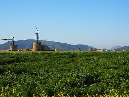 Windmill, Old, Lapsed, Ruin, Mallorca