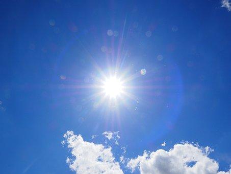 雲, 空, 青, 白, 夏の日, 晴れた日, 日当たりの良い, 太陽, 日光