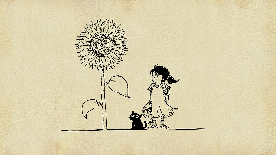 Dziewczynka, Kot, Kwiat, Bajki, Obraz, Fantazja