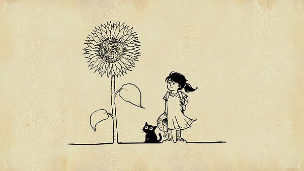 Girl, Cat, Flower, Fairy Tale, Painting
