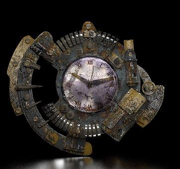Steampunk, Clock, Grunge, Fantasy, Gear