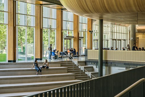 Architecture, University, Students, Wood