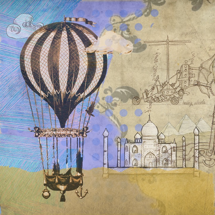 Heißluftballon, Steampunk, Ballon, Grunge, Jahrgang
