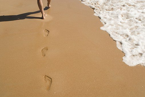 砂, フット プリント, 印刷, 徒歩, 足跡, 海, 岸, 距離, 足跡