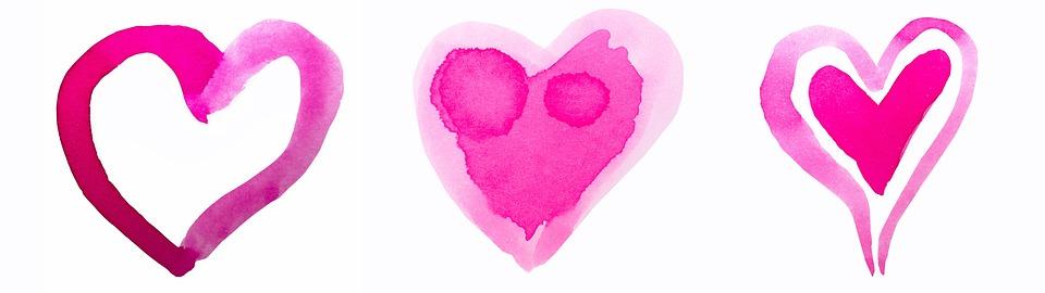 Serce, Akwarela, Dziecięcy, Czerwony, Różowy, Valentine