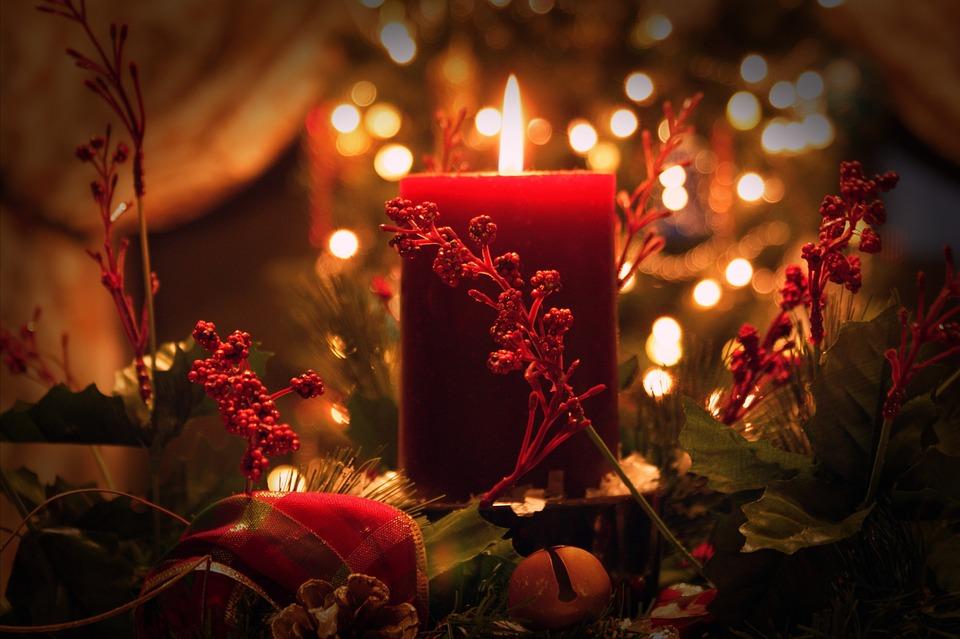 Weihnachten, Kerze, Rot, Grün, Flamme, Beeren, Urlaub