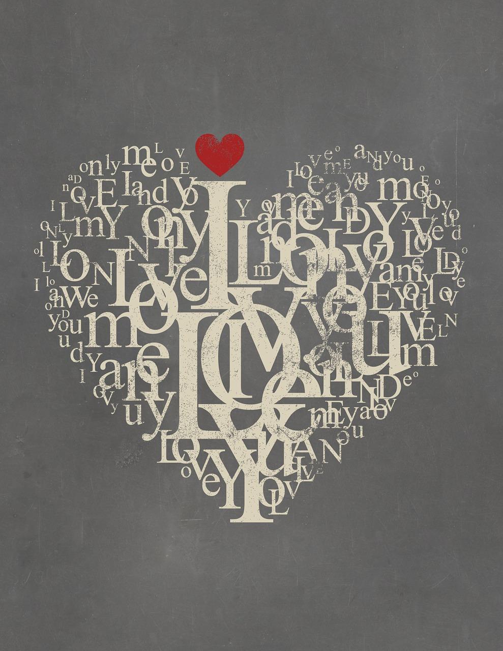Постер слова любви