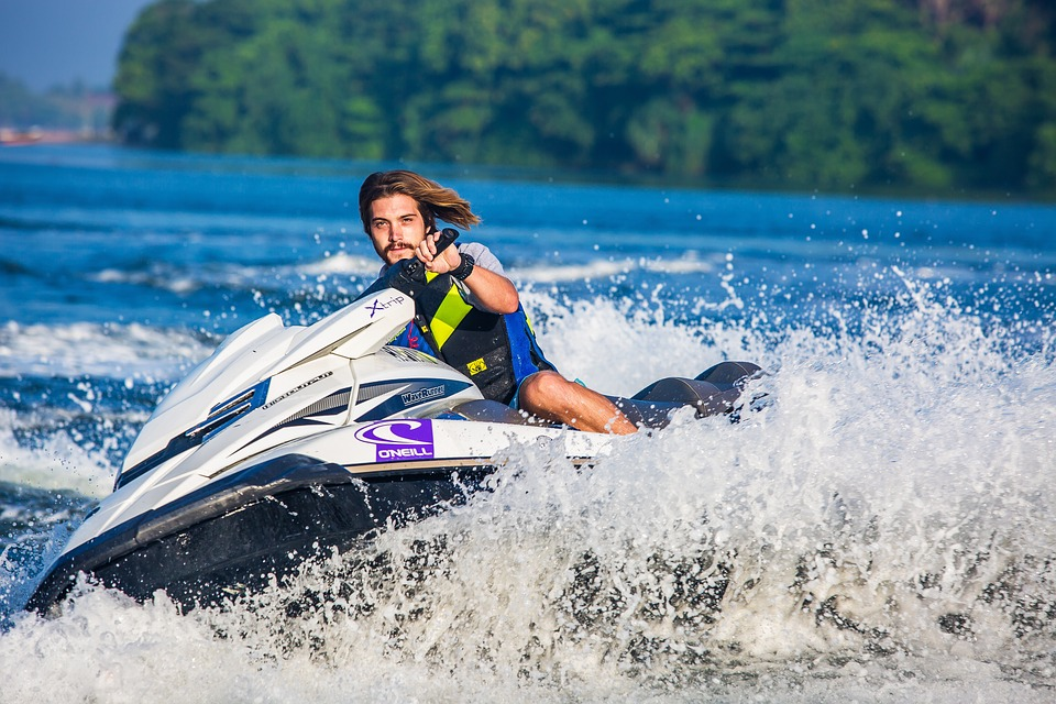 Jet Ski, Water Sport, Water, Ocean, Splash, Man, Wave