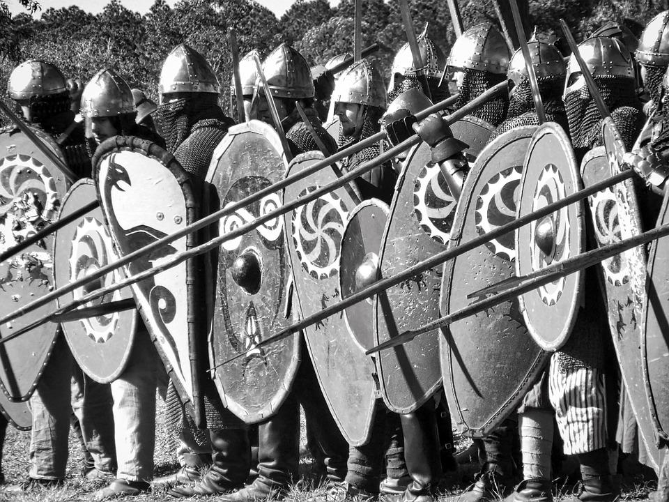 中世、兵士、槍、鎧、ヘルメット、防衛