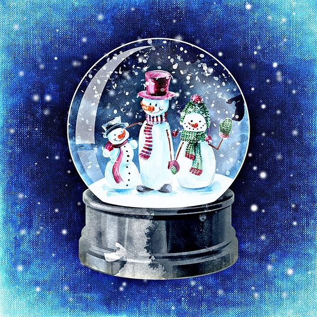 Открытка шар со снегом, поздравлением