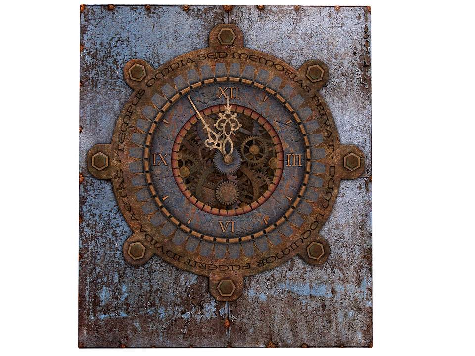 clock old clock steampunk metal iron isolated