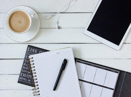 Kaffe, Tablett, Hörlurar, Arbete, Vit