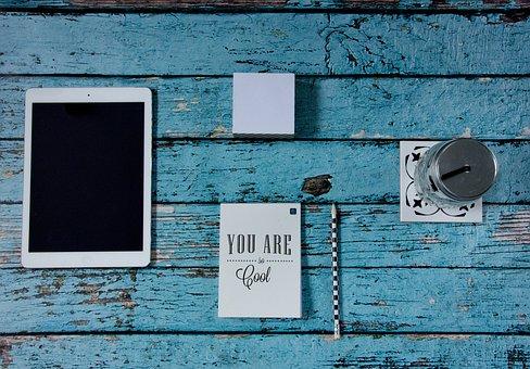 タブレット, ワークデスク, 鉛筆, オフィス, カード, 注意, ビジネス
