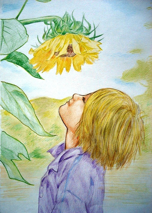Bunga Lukisan Gambar Dongeng Fantasi Gadis