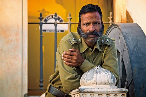 Guard, India, Travel, Portrait, Building