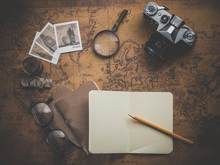 旅, アドベンチャー, フォト, 地図, 古い, レトロ, アンティーク