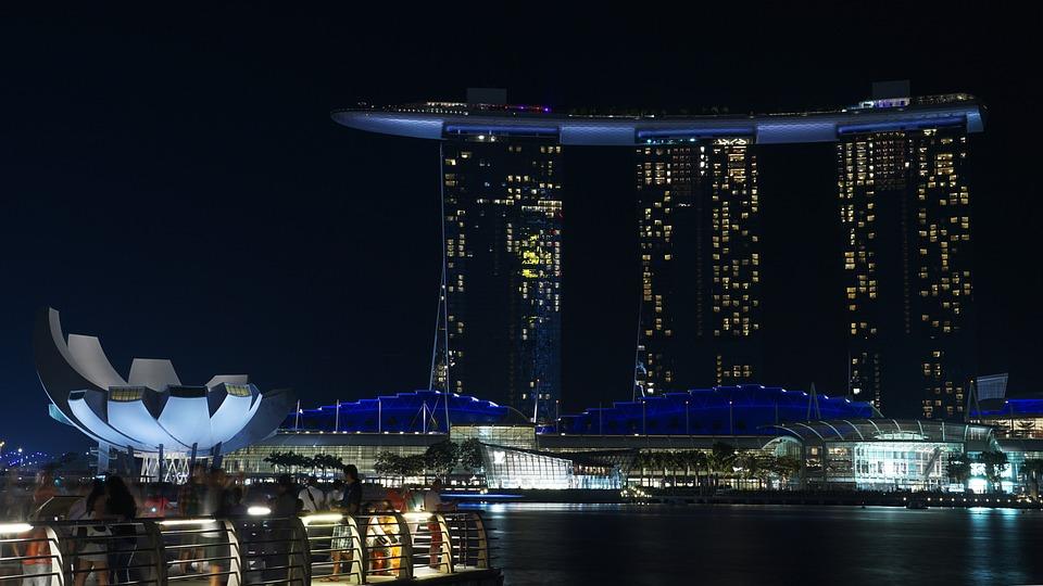 Singapur, Noche, Marina, Asia, Hotel, Arquitectura
