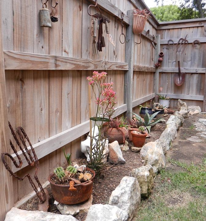 cactus jardn piedra rural diseo valla de madera