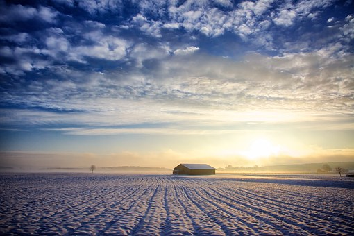 風景, 自然, 太陽, 空, 雲, 小屋, 冬, 雪, 冷, 牧草地, 耕地