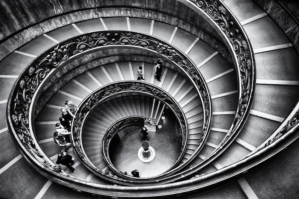 Escalier, Spirale, Monochrome, L'Architecture