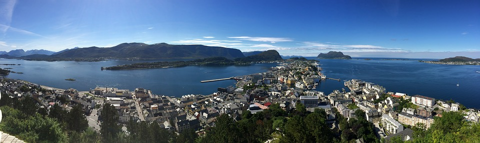 Alesund, Sea, Norway, Panoramic, Views, Pancityscape