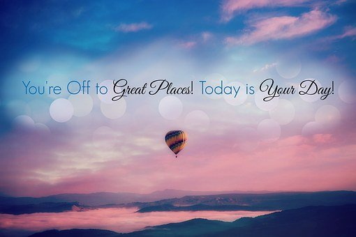 A flying baloon image with the words You'reofftogreat places .. for 301 inspirational and motivational quotes