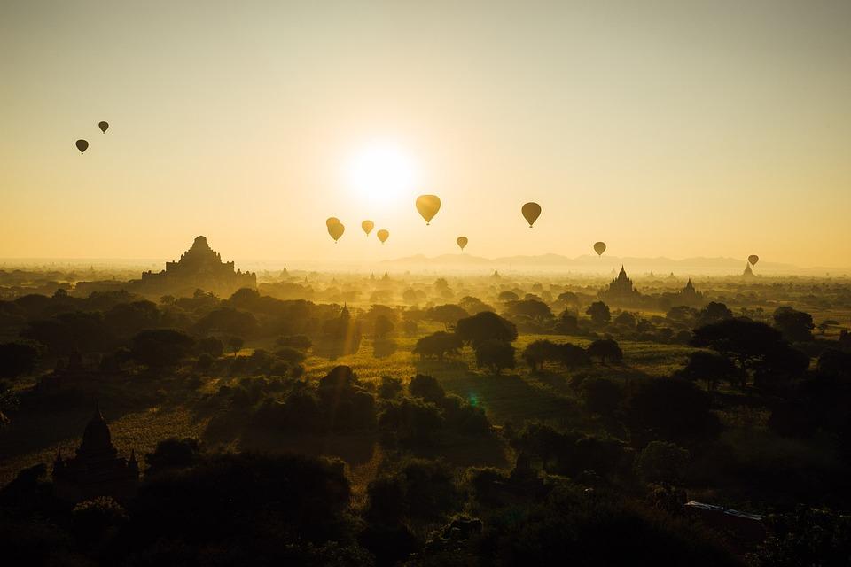 バガン, ミャンマー, ビルマ, 旅行, 寺, 仏教, 気球, アーキテクチャ, 日の出, 塔, 朝, 遺産