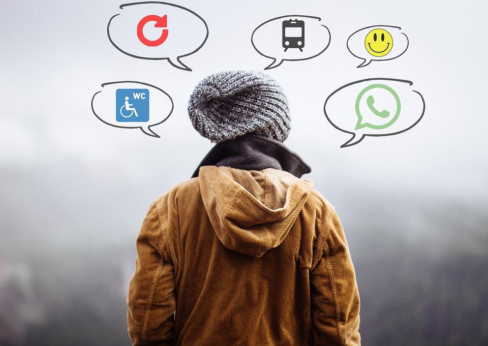 人間, 思考, 思考で, 頭, 思う, 外, 人, ブレーンストーミング, 思いやりのある, アイコン, ロゴ