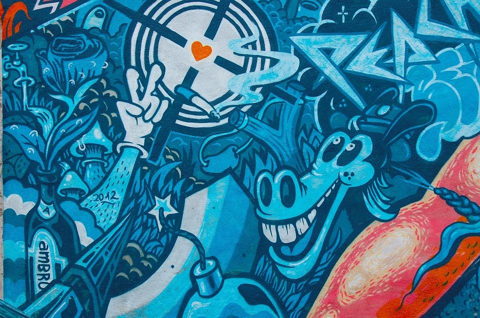 Graffiti Fantasy Blue Wall Mural Fantasy Murals
