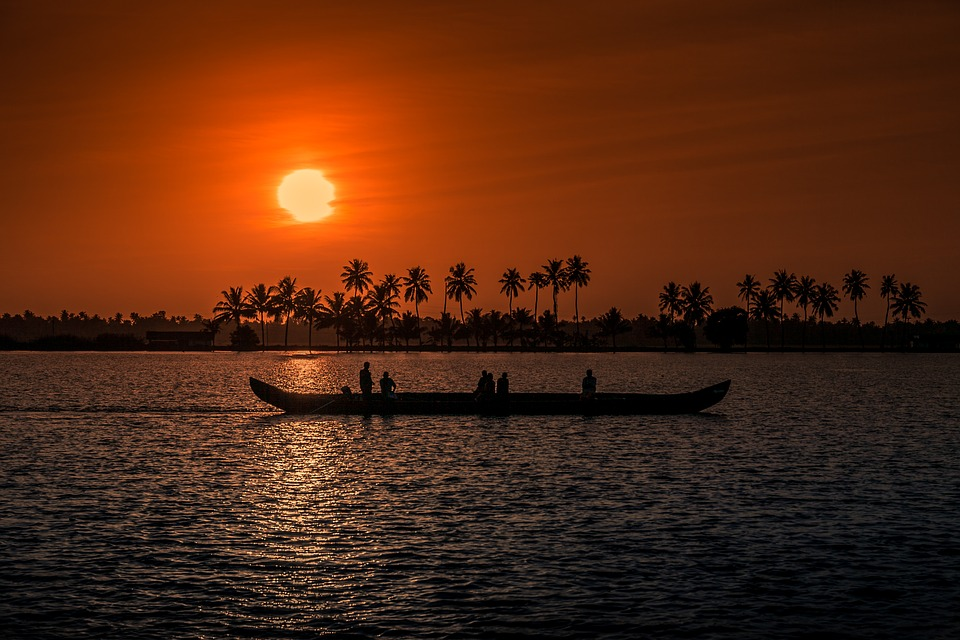 Wallpaper Fisherman Sunset Boat Hd Creative Graphics: Sunset Kerala Aleppay · Free Photo On Pixabay
